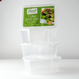 1L Food Container And Lid 4pk