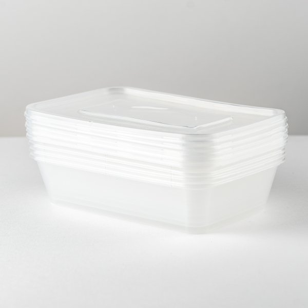 500ml Food Container And Lid - 5pk
