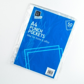 A4 Punched Plastic Pockets 50pk