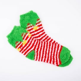 Ladies Cosy Christmas Socks - Elf