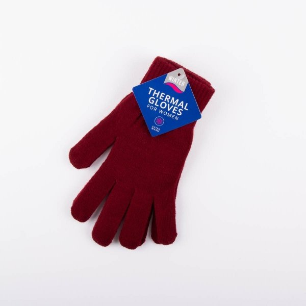 Ladies' Thermal Gloves - Burgundy